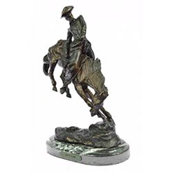Cowboy On Horse Rodeo Western Bronze Sculpture