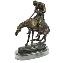 Indian Man With Spear On Horse Western Bronze Sculpture