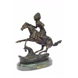 Warrior Handcast Bronze Sculpture on Marble Base Statue