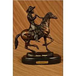 Country Western Cowboy Horse Bronze Sculpture
