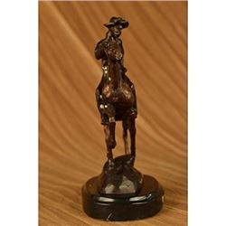 Trooper Bronze Sculpture Man Riding Horse Figurine