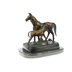 Mare With Her Baby Horse Stallion Bronze Sculpture