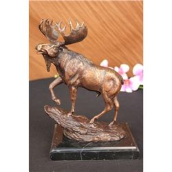 Male Moose Hunting Bronze Sculpture on Marble Base Statue