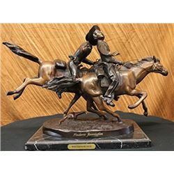 Wounded Bunkie Western Cowboy Bronze Sculpture on Marble Base Figurine