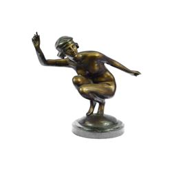 Nudist Performer Bronze Sculpture on Marble Base Statue