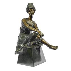 Vintage Seductive Lady Bronze Sculpture