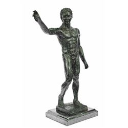 Nude Man Bronze Sculpture on Marble Base Figurine