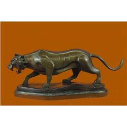 Modern Art Tiger Bronze Sculpture on Marble Base Figurine