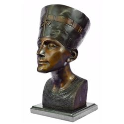 Egyptian Bronze Royal Queen Nefertiti statue Bust