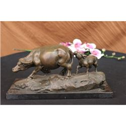 Bull with Calf Bronze Sculpture on Marble Base Statue