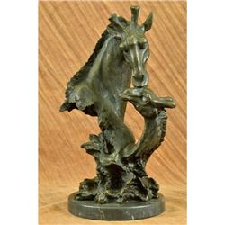 African Giraffe with Cub Bronze Sculpture Bust on Marble Base Figure