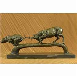 Elk Stag Confrontation Brown Bear Bronze Sculpture
