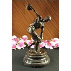 Disco bolus bronze sculpture on marble base