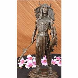 Apache Native American Warrior Bronze Statue