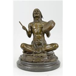 Native American Chanting Bronze Sculpture