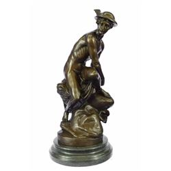 Mercury Bronze Statue On Marble Base Sculpture