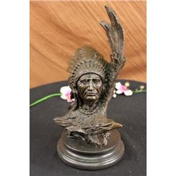 Native American With Eagle Bronze Statue on Marble Base Sculpture