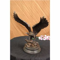 Hawk American Bald Eagle Bronze Statue on Marble Base Figurine