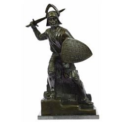 Bold Knight Warrior With Sword Bronze Statue