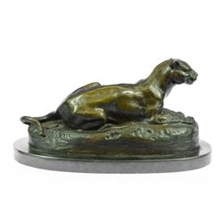 Cougar Animal Edition Bronze Sculpture On Marble Base Figurine