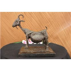 Stunning Abstract Farm Animal Goat Bronze Sculpture on Marble Base Statue