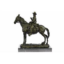 Tribute Cowboy Riding Horse Bronze Sculpture on Marble Base Statue