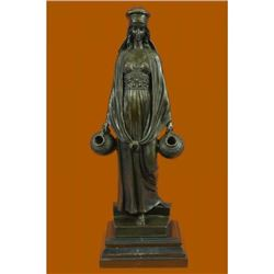 Erotic Lady Carrying Water Jugs Bronze Sculpture on Marble Base Figurine