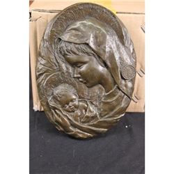 Virgin Mary Holding Baby Jesus Wall Plaque Bronze Sculpture