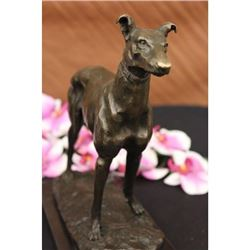Grey Hound Bronze Statue Racing Dog Trophy on Marble Base Figurine