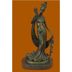 1920S Style Girl Holding a Mask Bronze Sculpture