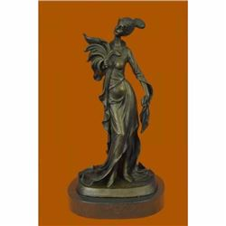 Classical Victorian Woman Bronze Statue Lady Feather Sculpture