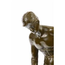 Collector Edition Nude Male Sculpture on Marble Base Figurine