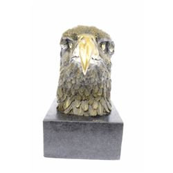 Eagle Garden Park Zoo Bronze Statue on Marble Base Figurine