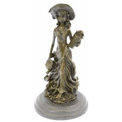Patoue Souther Girl In Garden Bronze Statue