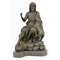 Christian St. Joseph Jesus and Lamb Bronze Statue On Marble base Sculpture