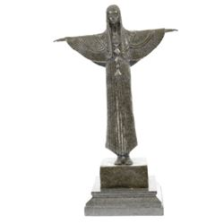 Egyptian Princess Bronze Sculpture on marble base Statue