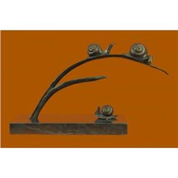 Snails on Branch Bronze Sculpture