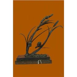 Bird Marshland on Marble Base Bronze Sculpture