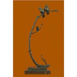 Love Birds Bronze Sculpture on Marble Base Statue