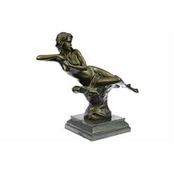 Bronze Roaring Nude Lady Sculpture on marble base