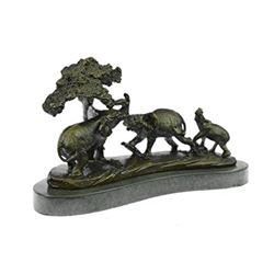 African Safari Elephant Bronze Statue on marble base Sculpture