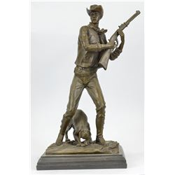 Western Cowboy With Gun Bronze Statue on Marble base Rodeo Bronco Rider Sculpture