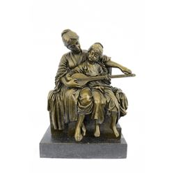 Mother Teaches Her Daughter Instrument Bronze Sculpture