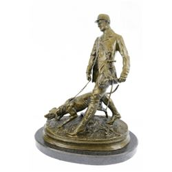 Fox Hunt Club Scent Hound Unique Bronze Sculpture on Marble base Statue