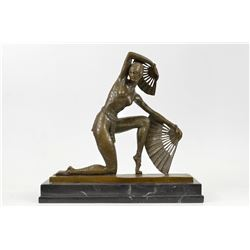 Fan Dancer Bronze Sculpture on Marble Base State