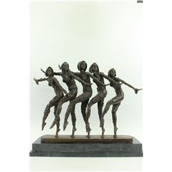 Five Dancer Art Nouveau on Marble Bse Bronze Sculpture