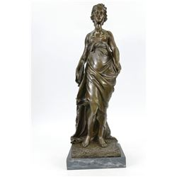 Nude Woman Elegant Bronze Sculpture on Marble Base Statue