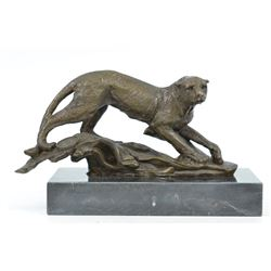 Animal Edition Cougar Bronze sculpture on Marble Base Bookend