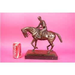Horse and Jockey Racetrack Triple Crown Farm Bronze Statue