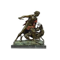 Hercules Killing Stag Bronze Statue on Marble Base Sculpture